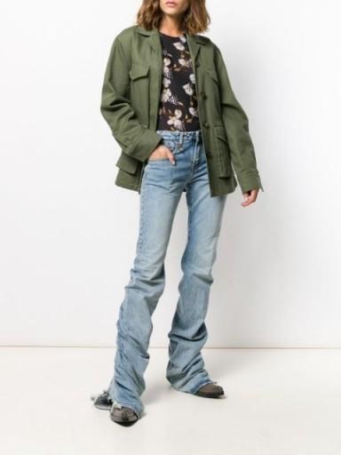 Hailey Bieber longline jeans, R13 gathered hem jeans, seen on Maeve Reilly's Instagram, 30 April 2020   celebrity denim