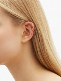 DIANE KORDAS Rainbow crystal and 18kt rose gold ear cuff ~ multicoloured semi-precious stones – sapphires