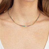 THE LAST LINE RAINBOW RIVIERA NECKLACE   multicolour precious stone necklaces