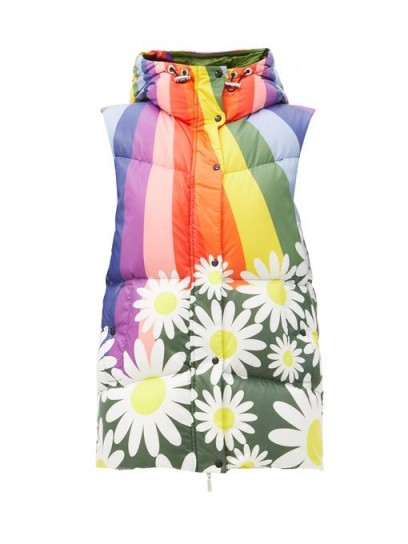 0 MONCLER GENIUS RICHARD QUINN Raquel rainbow and daisy-print hooded gilet / colourful gilets