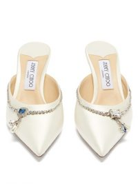JIMMY CHOO Rav 65 white crystal-embellished satin mules