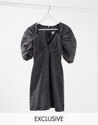 Reclaimed Vintage inspired dress in washed black denim
