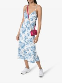 Reformation Chianti White and Blue Floral Print Slip Dress
