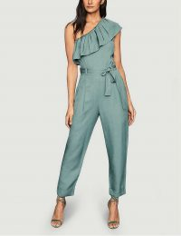 REISS Madeleine one-shoulder woven jumpsuit / green ruffle neckline jumpsuits