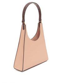 STAUD Rey contrast-handle beige-leather bag