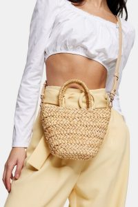 TOPSHOP RHODES Mini Straw Weave Tote Bag / summer bags