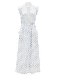 LORETTA CAPONI Rita polka-dot cotton-voile midi dress ~ white summer dresses