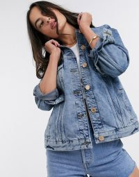 River Island denim trucker in mid authentic – classic casuals