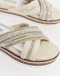 River Island diamonte detail flatform sandal in white | diamante embellished slides