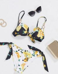 River Island fruit print tie plunge bikini set / florals & fruits