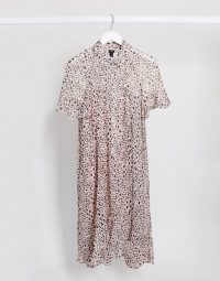 River Island spotted print midi shirt dress in pink