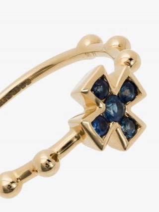 Rosa de la Cruz 18K Yellow Gold Baroque Cross Sapphire Ring / slim band rings / crosses