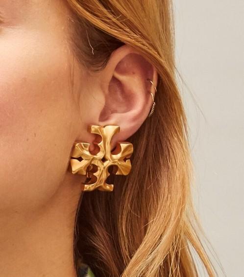 Tory Burch ROXANNE CLIP-ON EARRING / large designer logo earrings