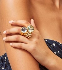 Tory Burch ROXANNE STATEMENT RING in Brass/Light Blue/Light Green / large cocktail rings