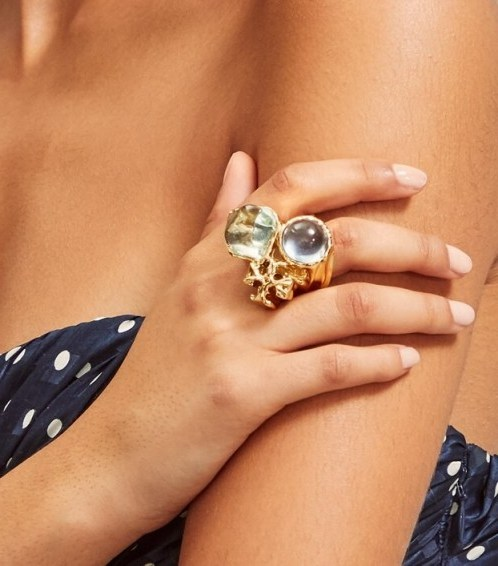 Tory Burch ROXANNE STATEMENT RING in Brass/Light Blue/Light Green / large cocktail rings - flipped