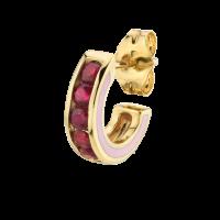 THE LAST LINE RUBY AND PINK ENAMEL CHANNEL SET HOOP | red gemstones