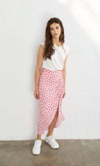 STRADIVARIUS Ruched polka dot pencil skirt