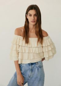 Mango Ruffled off-shoulder top | layered ruffles | tiered bardot tops