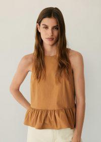 MANGO BLANCHI Ruffled poplin blouse – sleeveless peplum tops