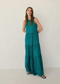 MANGO BLANCHI Ruffled poplin dress – emerald green tiered maxi