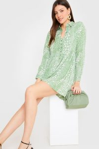 IN THE STYLE SAGE FLORAL SHIRT SMOCK DRESS