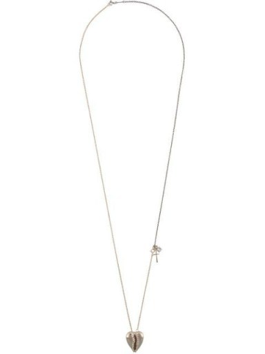 SAINT LAURENT heart-shaped cowrie shell necklace ~ longline pendant necklaces ~ shells ~ hearts - flipped