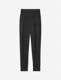 SAINT LAURENT Tapered high-rise lamé knit trousers noir / glam pants