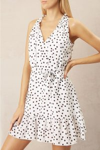 HEIDI KLEIN Santa Margherita Ligure Ruffle Neck Mini Dress / polka dot print summer dresses