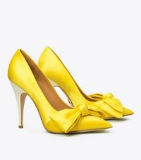 Tory Burch SATIN BOW PUMP in Acidic Yellow / bright & beautiful courts
