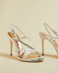 TED BAKER THEANAI Satin diamante strappy heeled sandals ivory