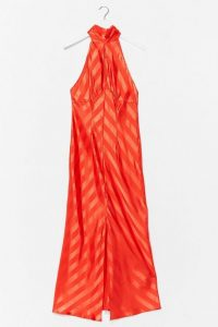 NASTY GAL Satin Jacquard Keyhole Midaxi Dress / orange going outr dresses