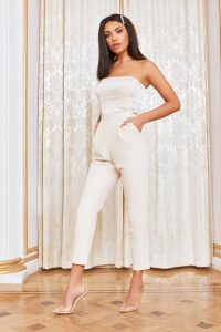 lavish alice satin mix bandeau jumpsuit in champagne | strapless crop leg jumpsuits