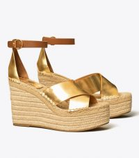 Tory Burch SELBY METALLIC WEDGE ESPADRILLE SANDAL in Old Gold / Ambra / summer ankle strap wedges