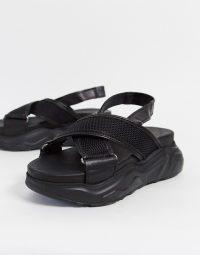 Selected Femme leather fringe chunky sandal in black