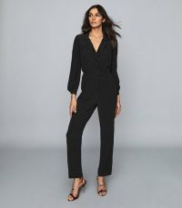 Reiss SELENA UTILITY JUMPSUIT BLACK / effortless evening glamour