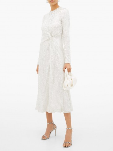 GALVAN White sequinned knotted-front dress