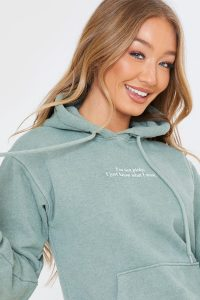 SHAUGHNA PHILLIPS WASHED SAGE 'I'M NOT PICKY' SLOGAN HOODIE – green hoodies