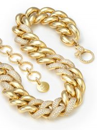 SHAY 18kt yellow gold jumbo alternating pavé diamond necklace / luxe statement necklaces