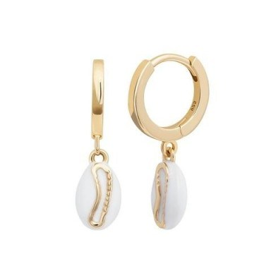 ASTRID & MIYU Shell Huggies in Gold / small pendant hoops - flipped