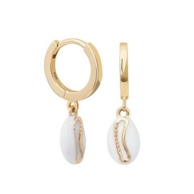 ASTRID & MIYU Shell Huggies in Gold / small pendant hoops