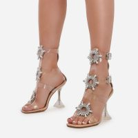 EGO Shine Diamante Detail Caged Perspex Square Toe Heel In Nude Patent – clear statement sandals