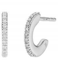 MONICA VINADER Silver Fiji Diamond Small Skinny Hoop Earrings