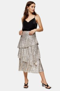Topshop Silver Sequin Tiered Midi Skirt