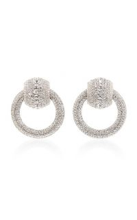 Alessandra Rich Silver-Tone Crystal Door Knocker Earrings / evening glamour
