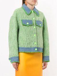 SJYP denim-tweed mixed jacket green/blue