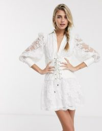 Skylar Rose skater dress with corset waist in lace