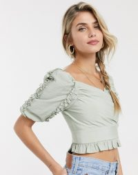 Skylar Rose wrap front top with ruffle trims sage