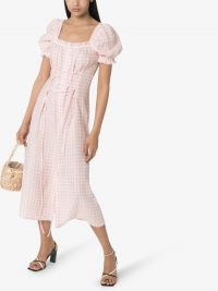 SLEEPER Marquise Gingham Corset Midi Dress / pink check summer dresses