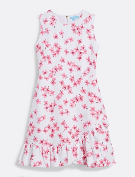 Reese Witherspoon pink floral frock, Draper James Sleeveless Faux Wrap Dress, on Instagram, 11 May 2020 | celebrity dresses