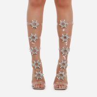 EGO Sparkle Diamante Detail Square Toe Knee High Caged Clear Perspex Heel In Silver Holographic Patent – statement heels